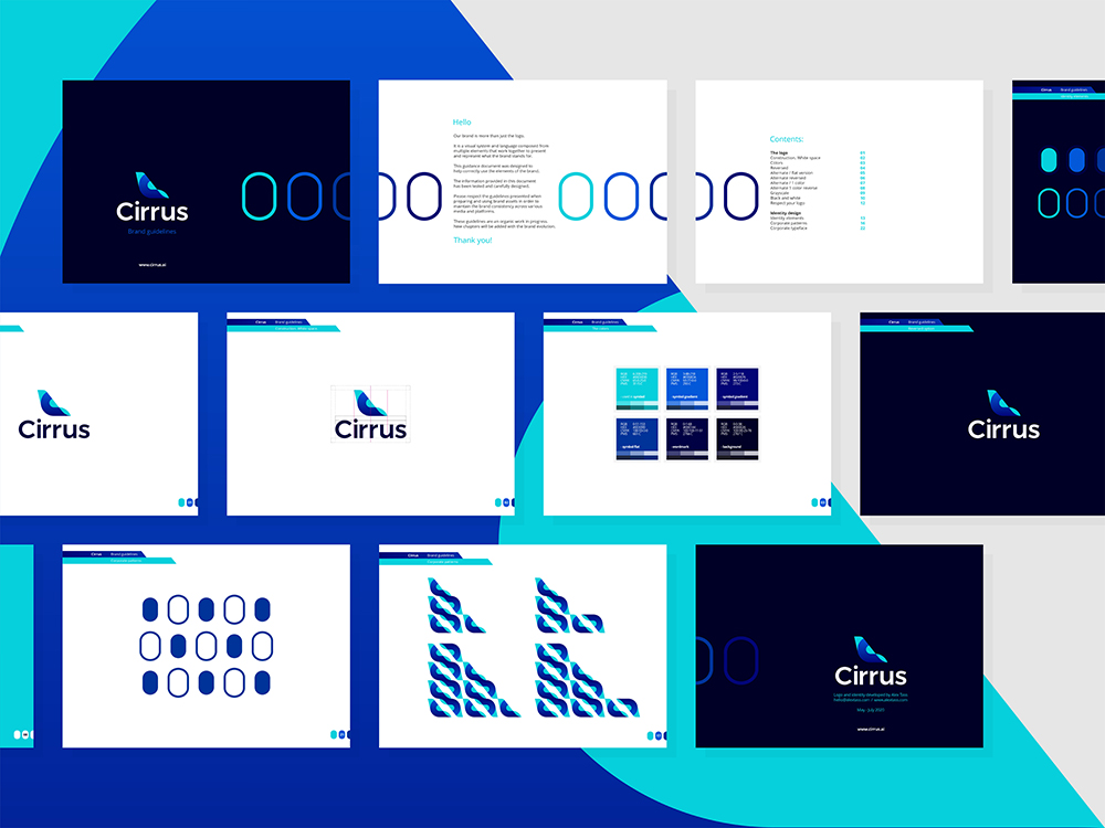 Cirrus, logo identity design brand manual guidelines for flights ticketing ai by Alex Tass