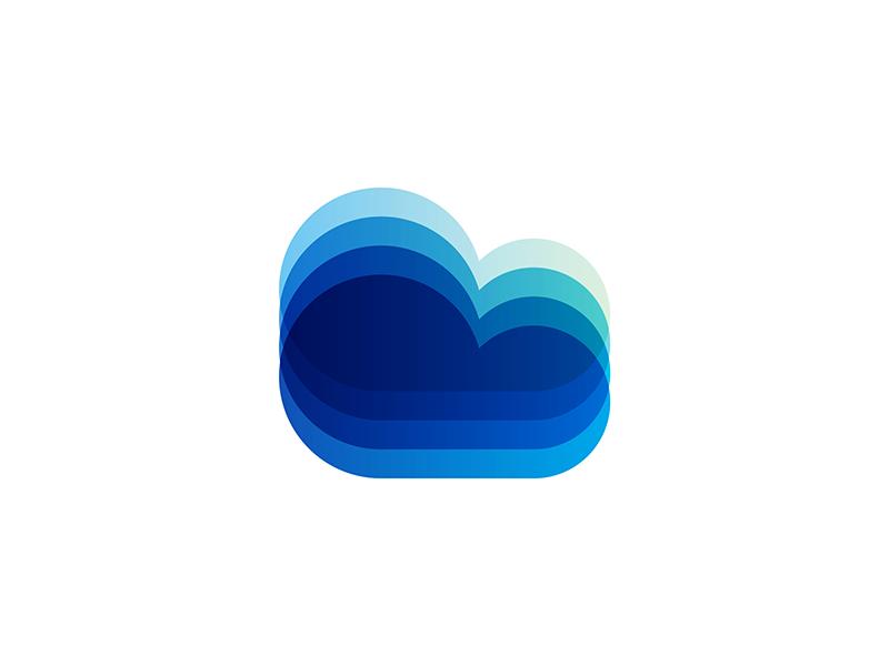 Cloud icon for digital ecosystem logo design symbol by Alex Tass