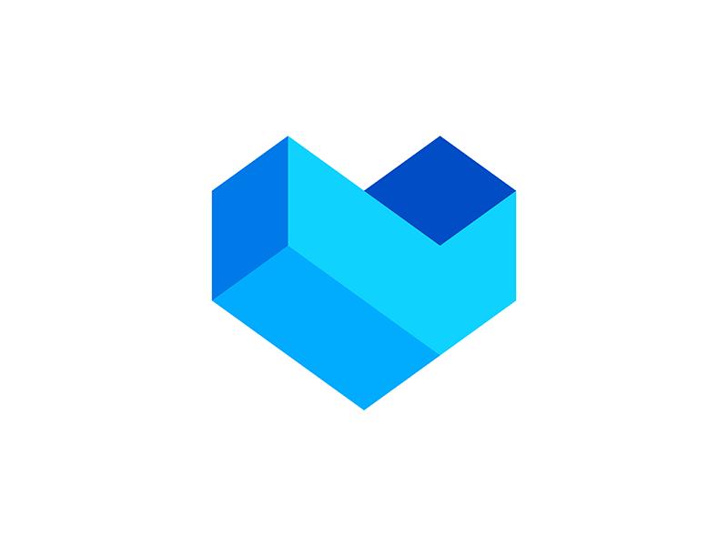 Digital heart, logo symbol icon exploration logo design by Alex Tass