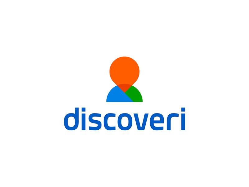 Discoveri pin pointer person silhouette logo design by Alex Tass