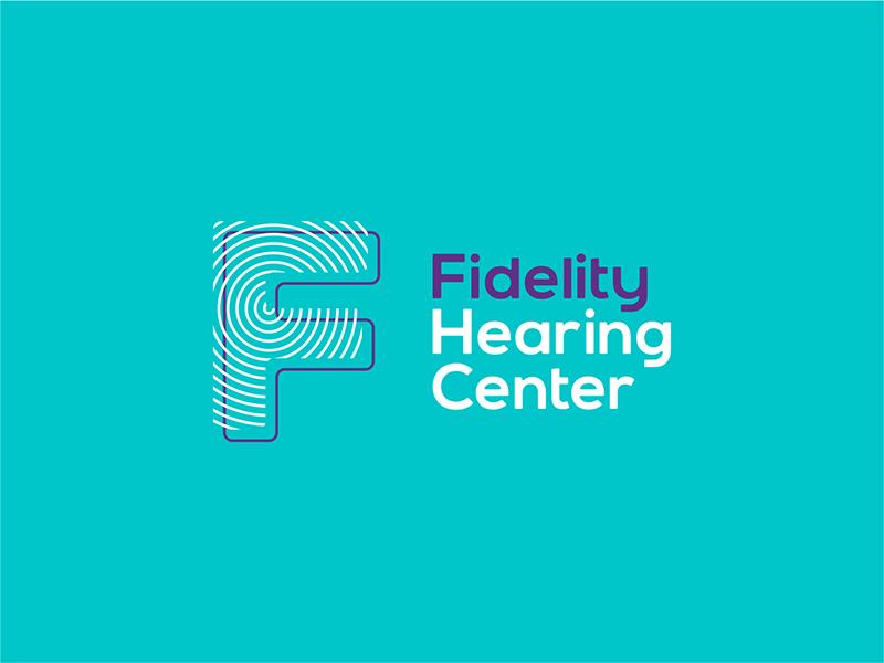 Fidelity hearing center F letter mark monogram logo design by Alex Tass