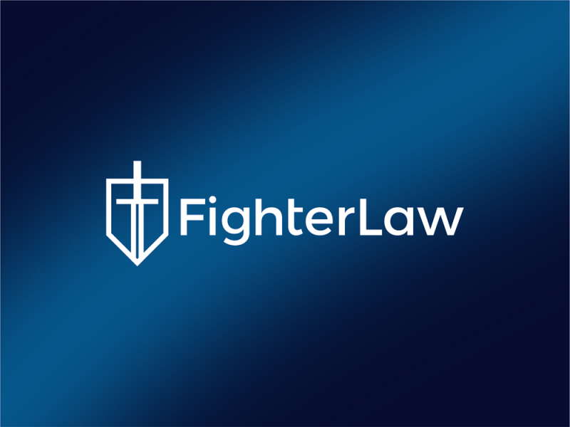 Fighter Law, law firm FL monogram, shield, sword, helmet logo design by Alex Tass