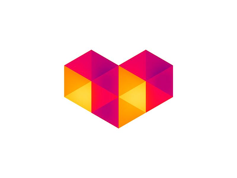 Geometric heart for digital love, logo design symbol icon by Alex Tass