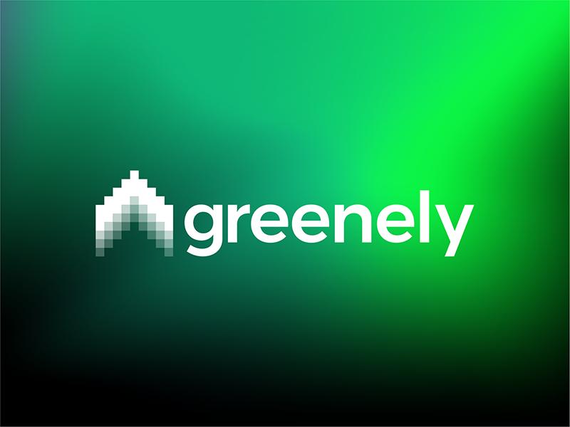Greenely smart electricity logo house northern lights arrow logo design by Alex Tass