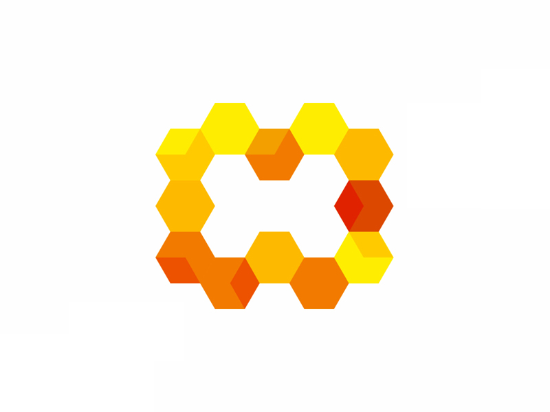 H for The Hive, modular letter mark logo design symbol icon by Alex Tass