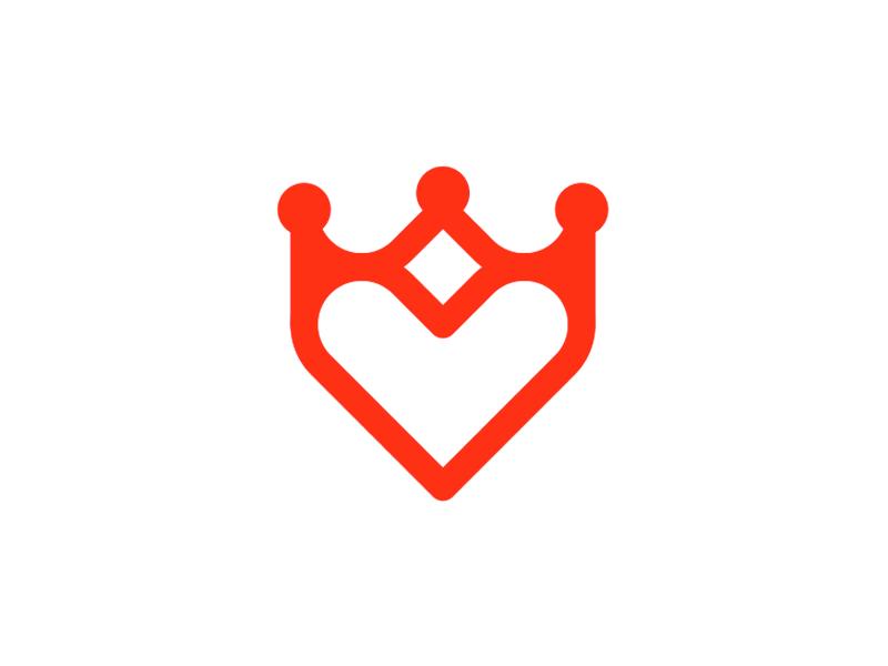 Kingdom of Heart, crown heart, dating logo design symbol by Alex Tass