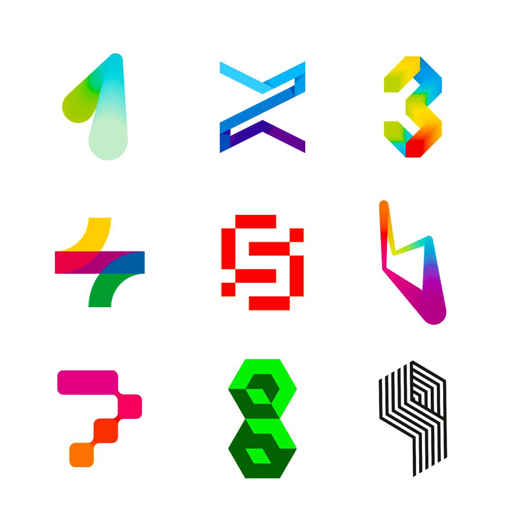 LOGO Alphabet 1 2 3 4 5 6 7 8 9 number letter mark monogram logomark icon logo design by Alex Tass