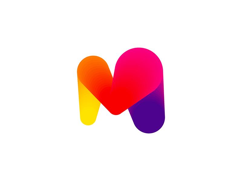Mmmmm lovely, M + heart, letter mark logo design symbol icon by Alex Tass