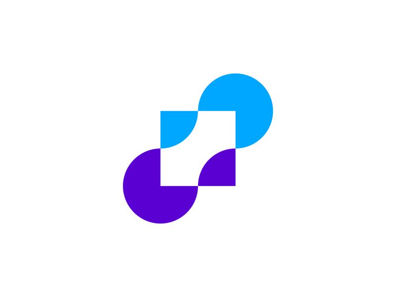 Moving dots modern financial logo design by Alex Tass
