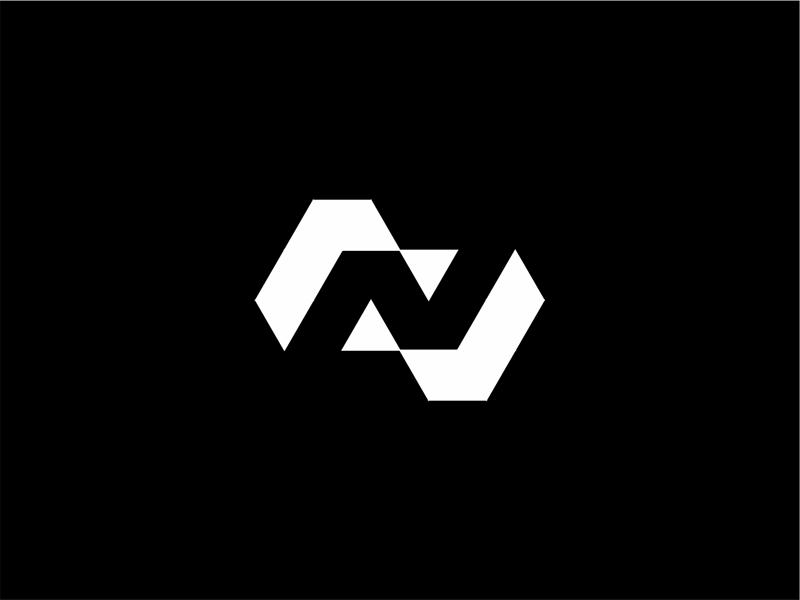 N letter mark in Negative Space logo design by Alex Tass