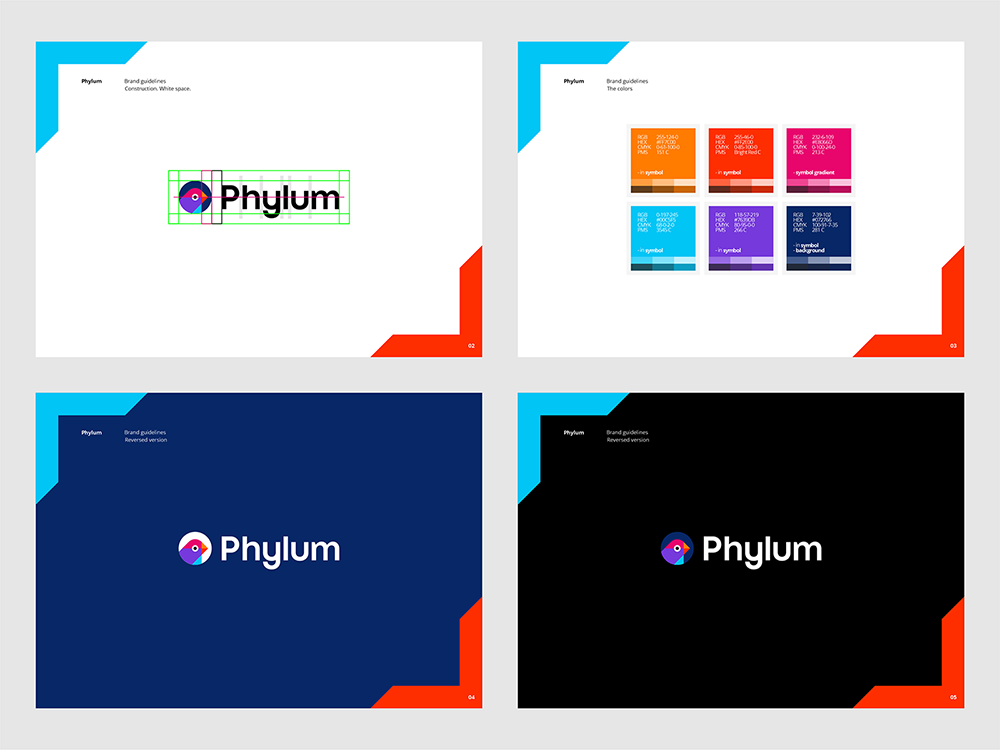 Phylum logo brand manual guidelines software composition components analytics by Alex Tass - colors, reversed options