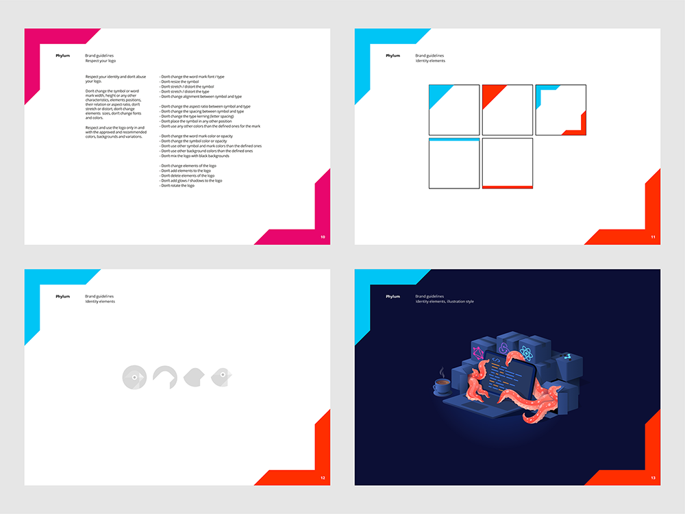 Phylum logo brand manual guidelines software composition components analytics by Alex Tass - identity elements, website illustrations