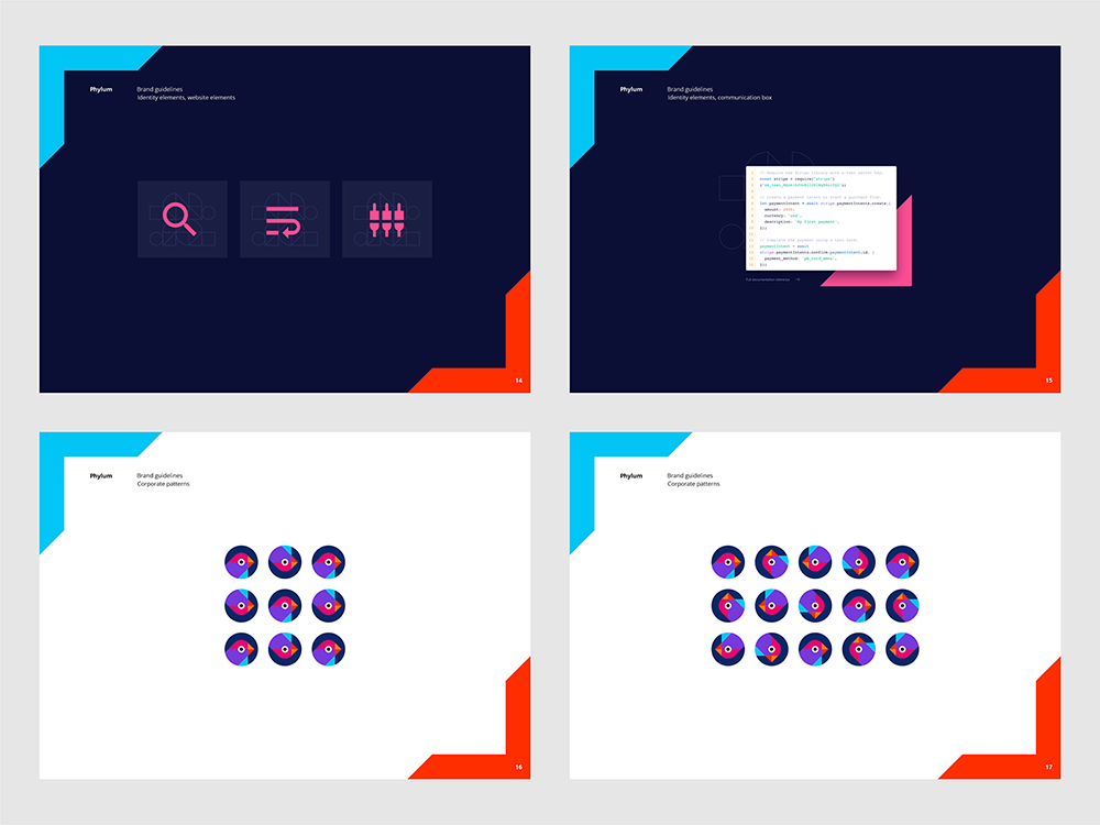 Phylum logo brand manual guidelines software composition components analytics by Alex Tass - identity elements, website illustrations, corporate patterns