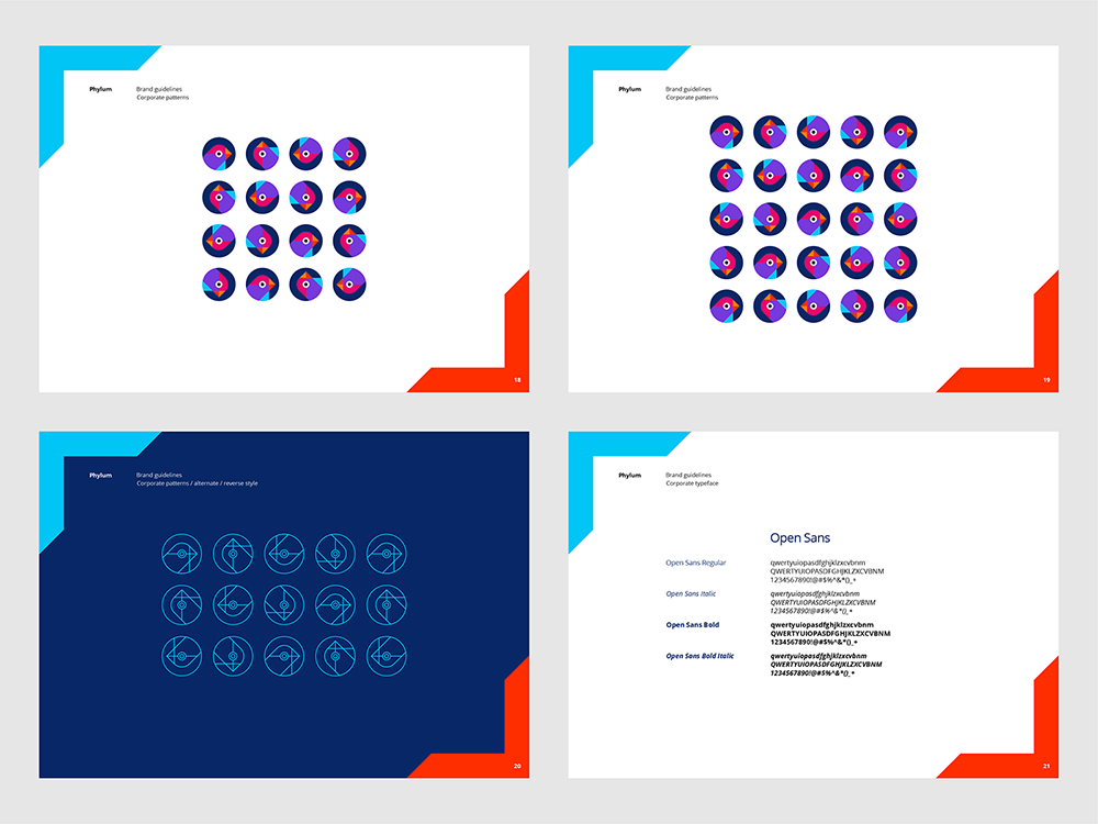 Phylum logo brand manual guidelines software composition components analytics by Alex Tass - corporate patterns, corporate typeface