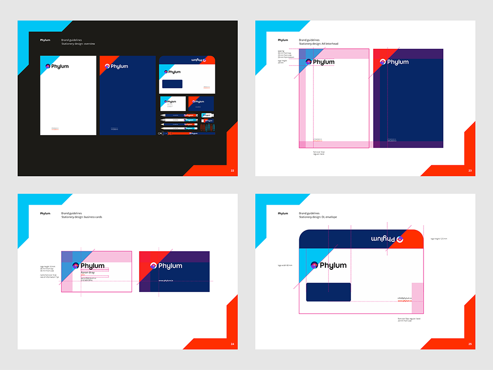 Phylum logo brand manual guidelines software composition components analytics by Alex Tass - stationery design + construction grid