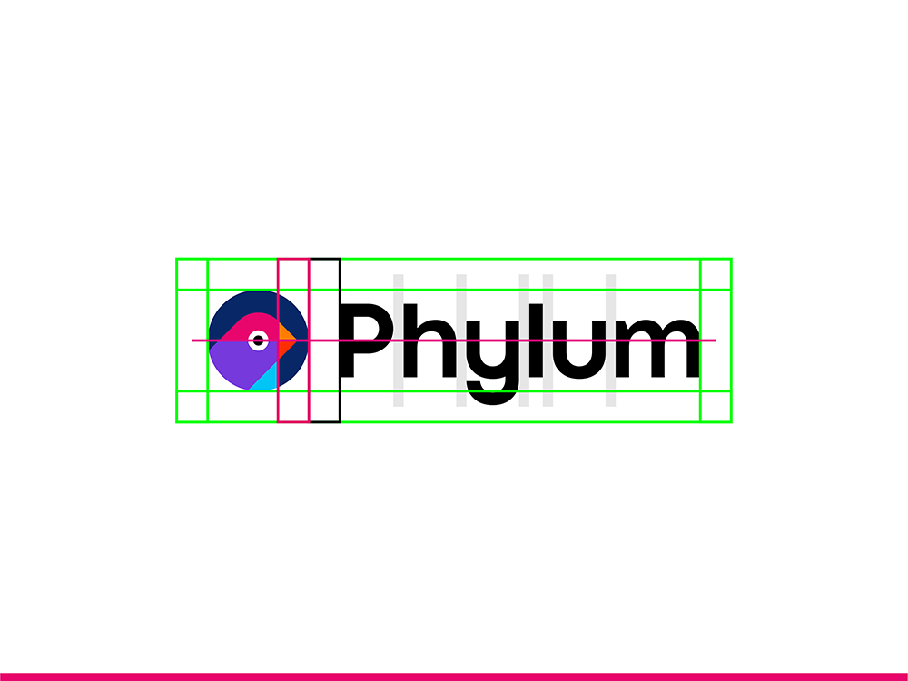 Phylum software composition components analytics finch logo design logo construction grid by Alex Tass