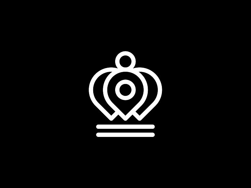 Pin pointer crown logo symbol icon exploration logo design by Alex Tass