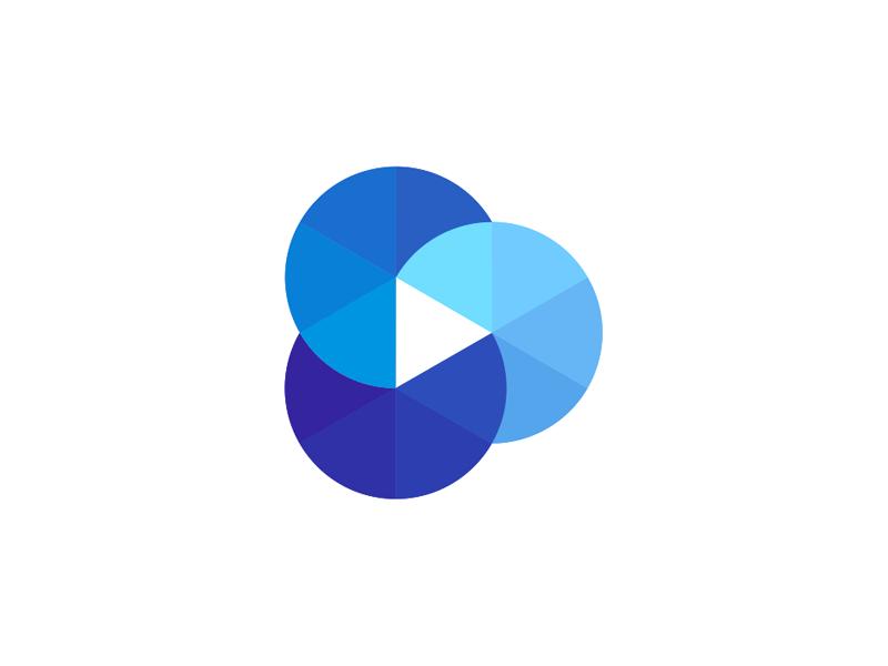 Play icon cloud film reel, logo design symbol by Alex Tass
