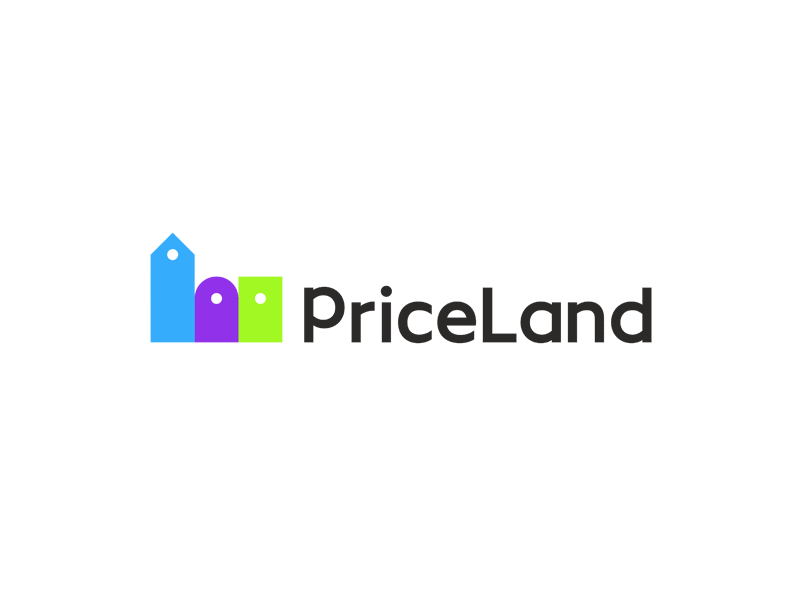 Priceland price tags buildings dynamic logo design by Alex Tass