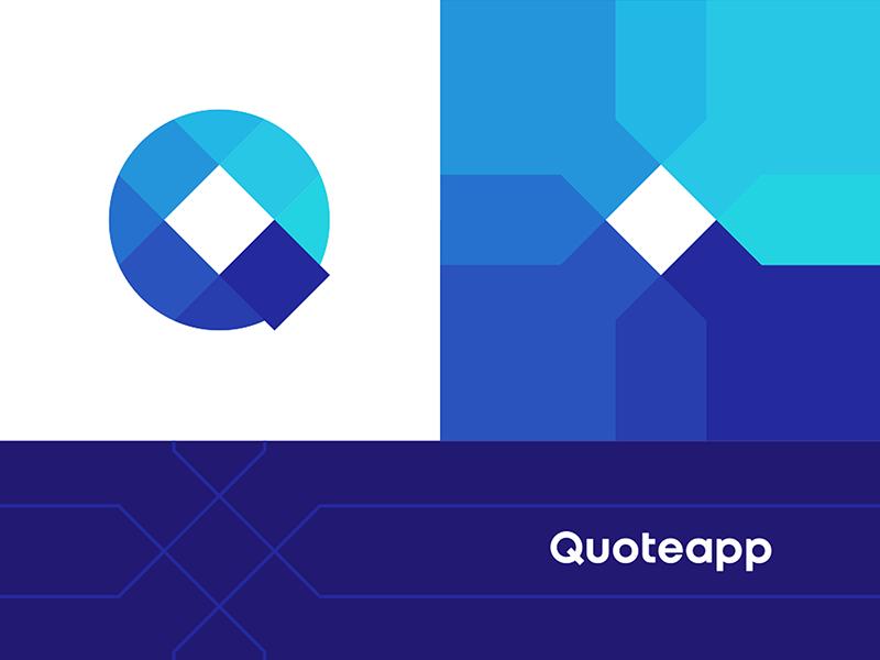 Quoteapp Q letter mark monogram logo corporate pattern design by Alex Tass