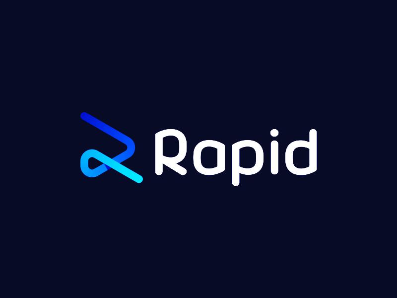 R letter Rapid rabbit, logo design for workforce management software logo design by Alex Tass