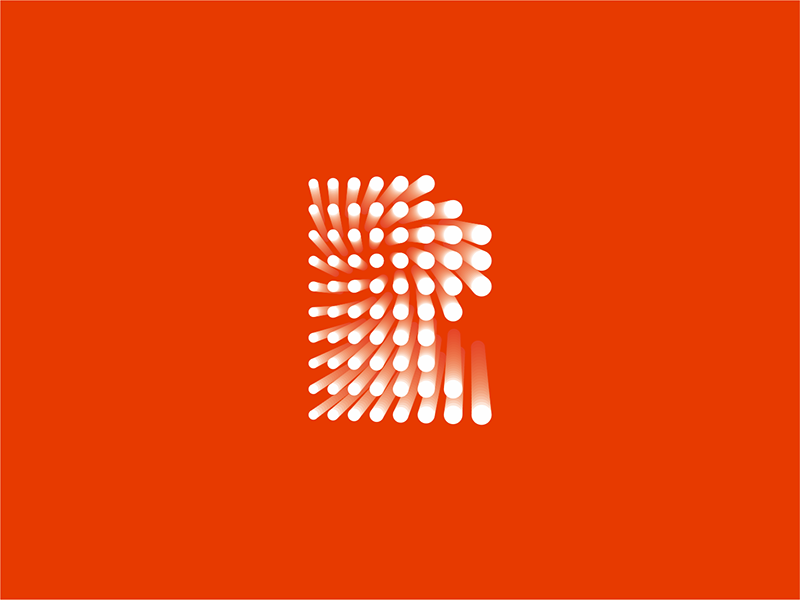 Resolve product lab industrial R dots letter mark logo design by Alex Tass