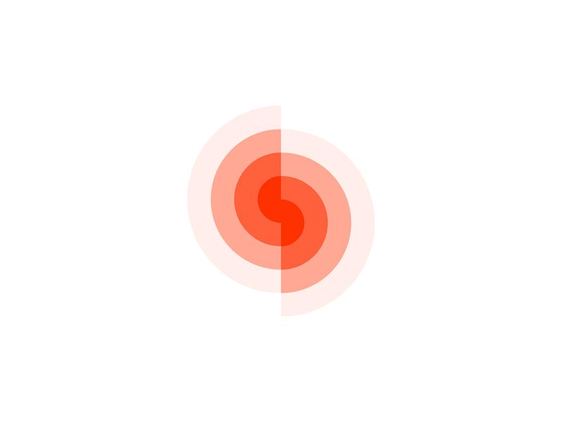 S spin spiral letter mark icon monogram logo design by Alex Tass