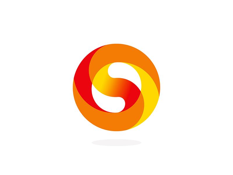 S, sun, Yin Yang, circle, letter mark logo design symbol by Alex Tass