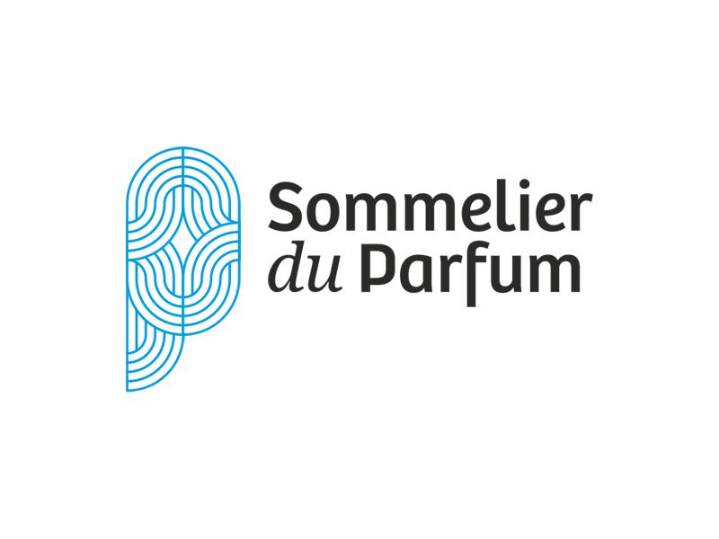 Sommelier du parfum s p monogram perfume waves logo design by Alex Tass