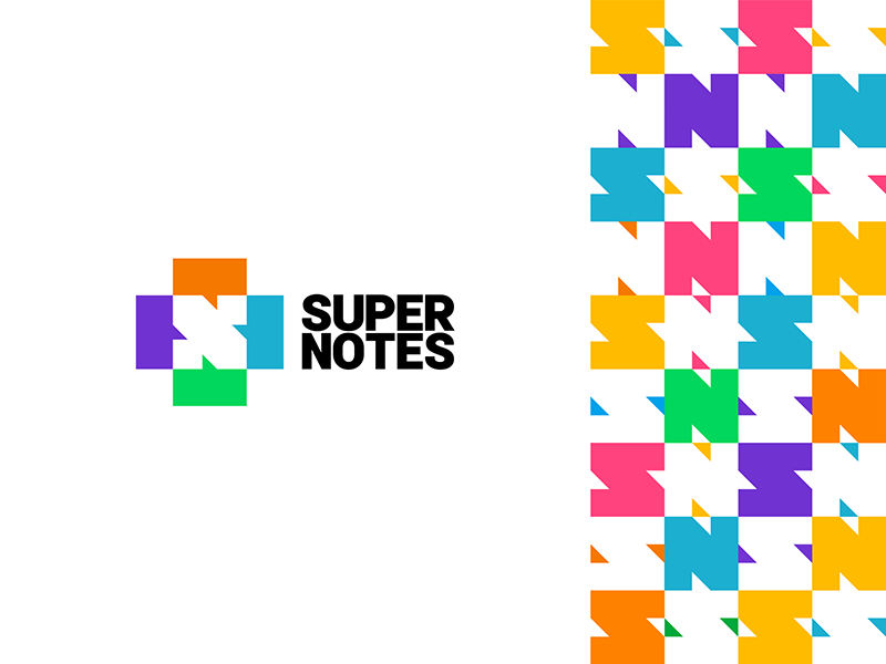 Super Notes S N letters in negative space chat boxes logo corporate pattern design by Alex Tass
