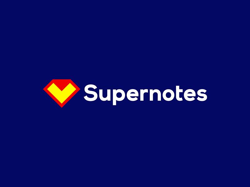 Supernotes logo Superman diamond + folded note notes logo design by Alex Tass