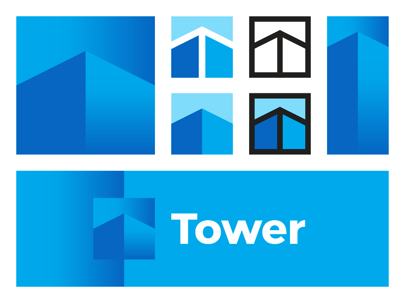 T buildings tower arrow architecture logo design by Alex Tass