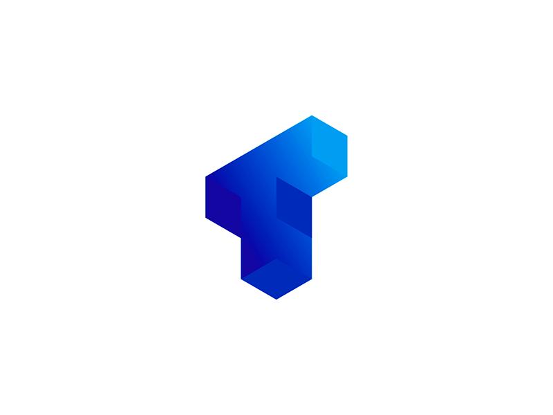 T letter mark blockchain software logo design by Alex Tass