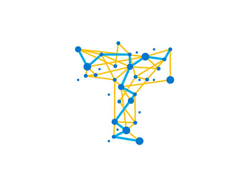 T travel trace nodes network connections letter mark logo design symbol by Alex Tass