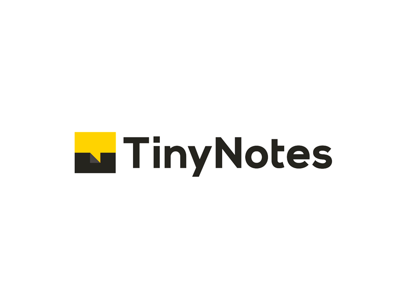 TinyNotes, collaborative notes app logo T, N, chat, folded note logo design by Alex Tass