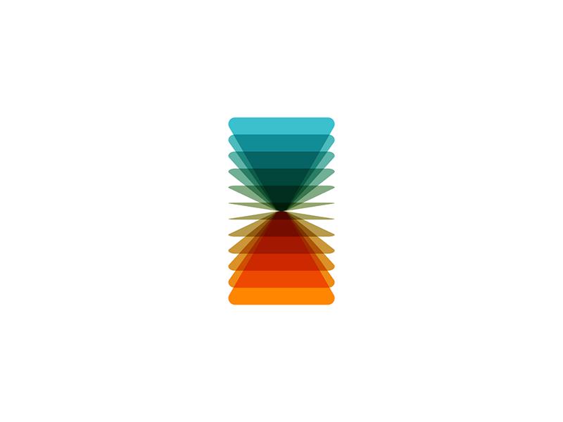 V A letter mark flipping blends geometric monogram hourglass logo design by Alex Tass