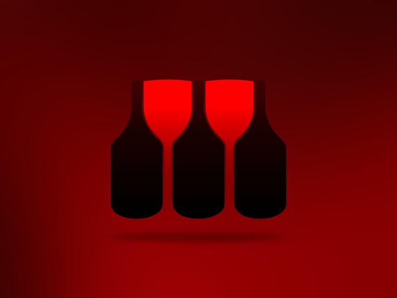 Wine bottle glass negative space logo design by Alex Tass