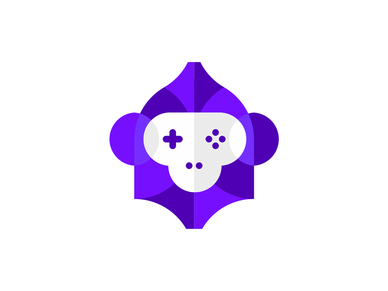 games game gaming pad monkey ape logo design by Alex Tass