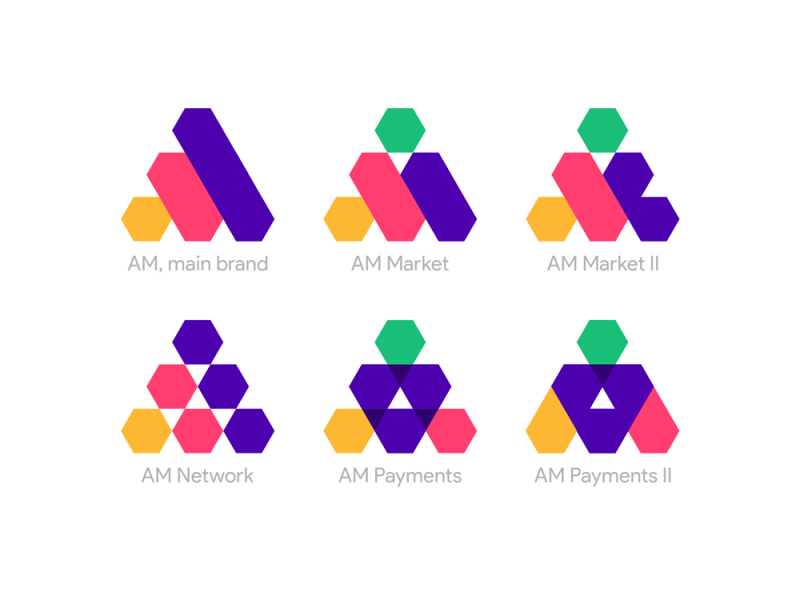 AM M main brand logo, network, market, payments products by Alex Tass