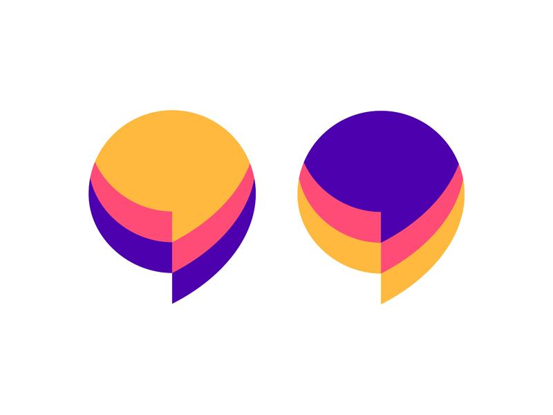 Chat speech bubbles + quote marks, logo design symbol by Alex Tass