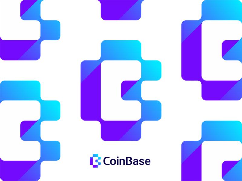 CoinBase logo design CB negative space monogram by Alex Tass