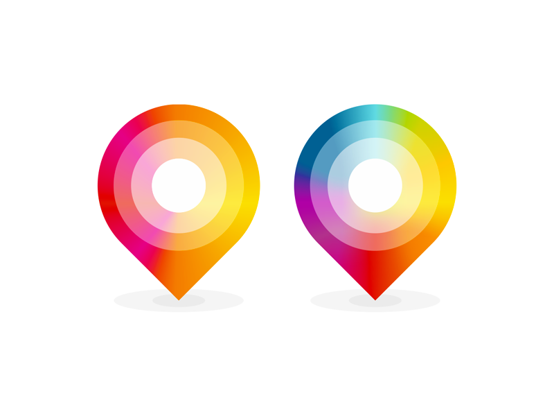 Colorful map location pin pointers logo design symbol icon by Alex Tass