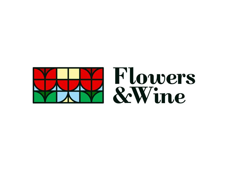 Flowers wine tulips glass geometric logo design by Alex Tass