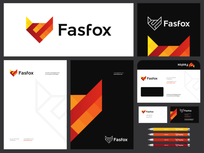 Fox, F letter, technology consultant logo & identity design by Alex Tass