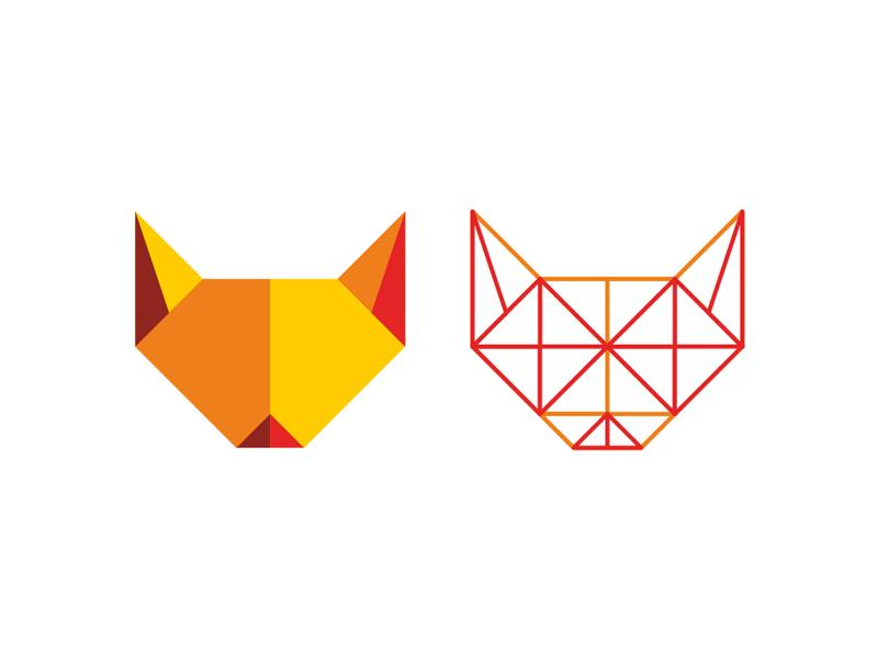 Fox head logo design symbol + construction grid by Alex Tass
