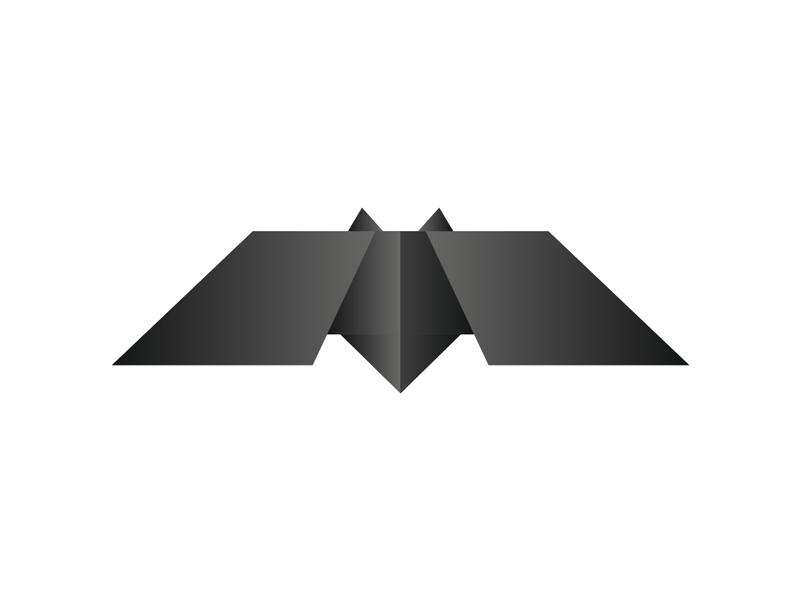 Geometric bat origami batman logo 2009 design symbol by Alex Tass