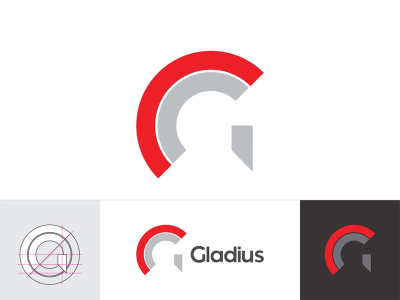 Gladius gladiator negative space g letter mark logo design by Alex Tass