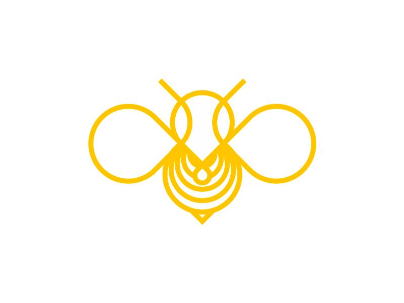 Honey bee insect line art logo design symbol by Alex Tass