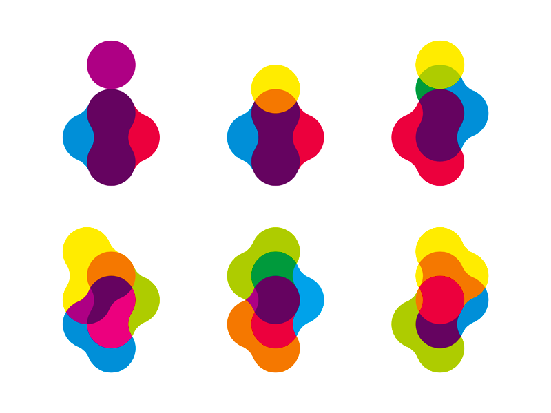 Inspire logo design colorful organic i letter mark by Alex Tass