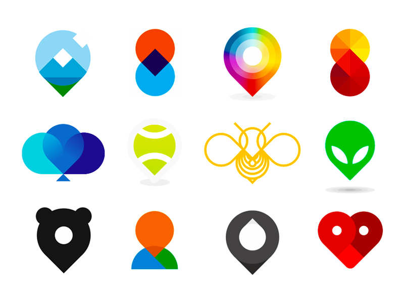 Map location pin pointers logo design symbols icons by Alex Tass